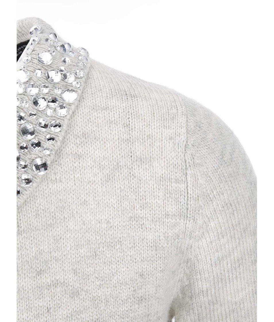 Šedý svetr s ozdobným límečkem Dorothy Perkins