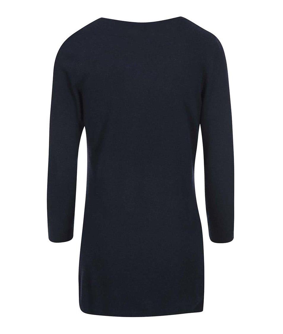 Tmavě modrý delší svetr s krajkovým lemem Dorothy Perkins
