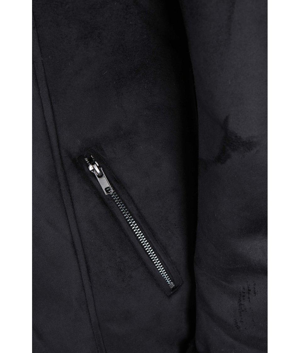 Černý semišový kabát s kožíškem Dorothy Perkins