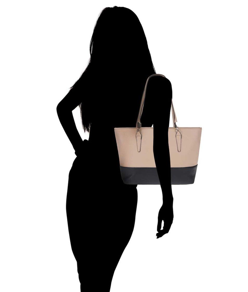 Černo-béžová velká obdelníková kabelka Dorothy Perkins
