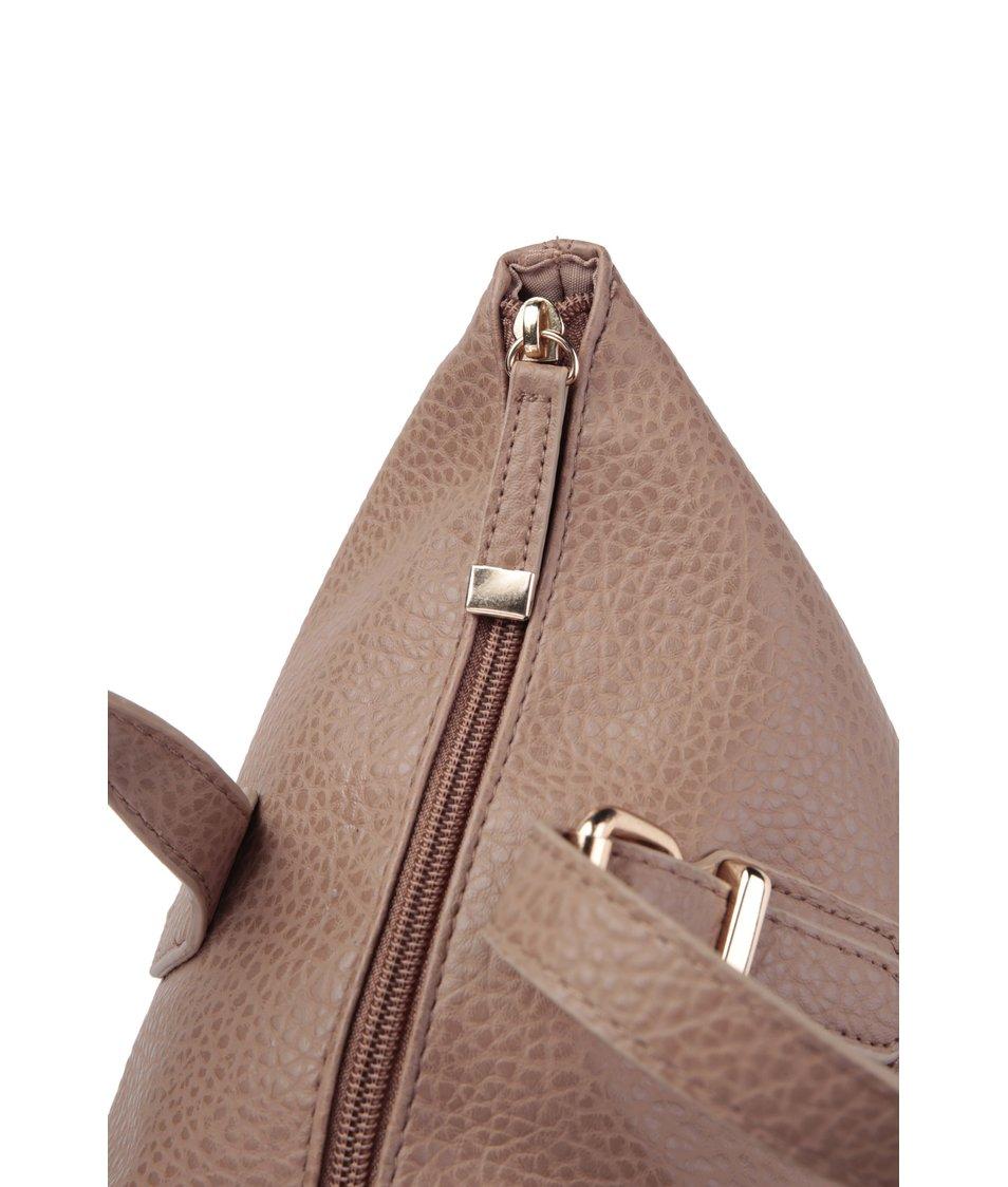 Hnědá větší kabelka se zlatými detaily Dorothy Perkins