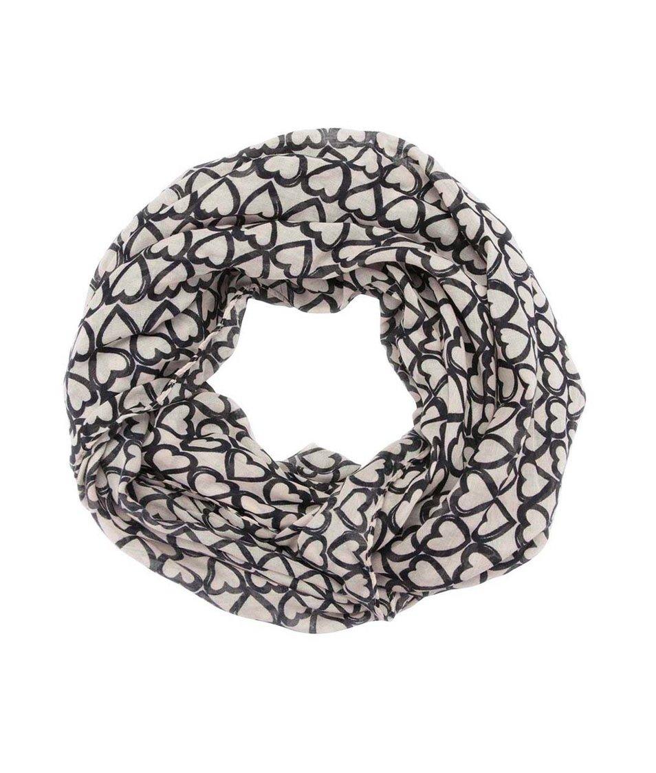 Krémovo-černá dutá šála se srdíčky Dorothy Perkins