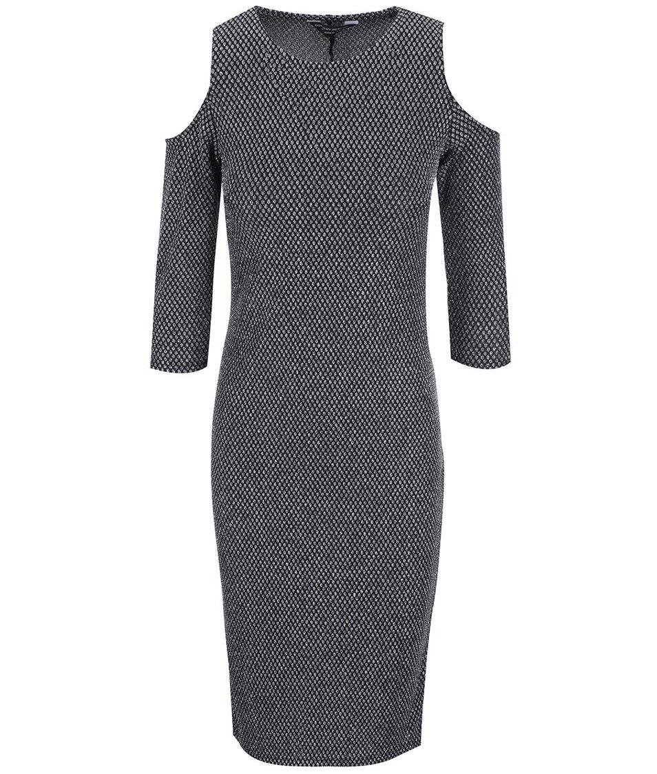 Černé šaty s metalickým vzorem Dorothy Perkins