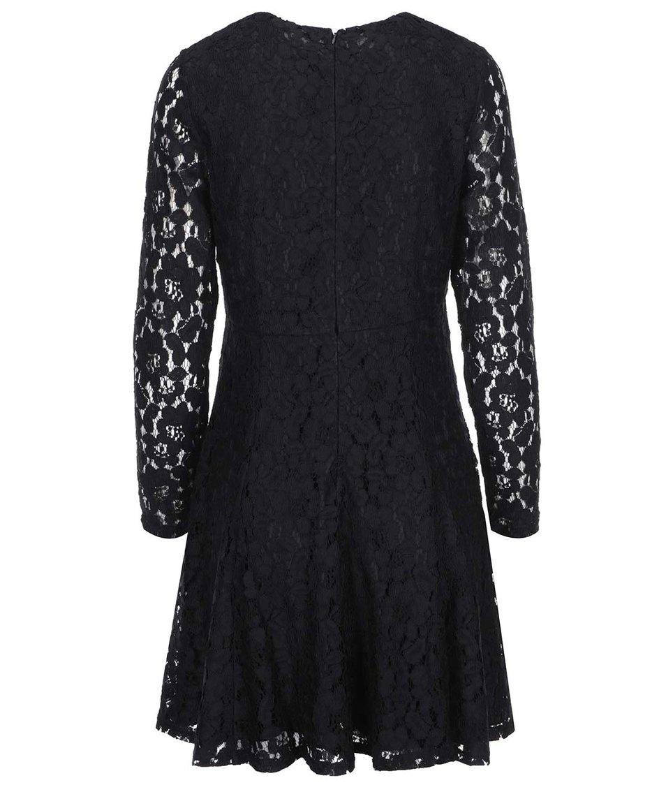 Černé krajkované šaty s dlouhým rukávem Dorothy Perkins