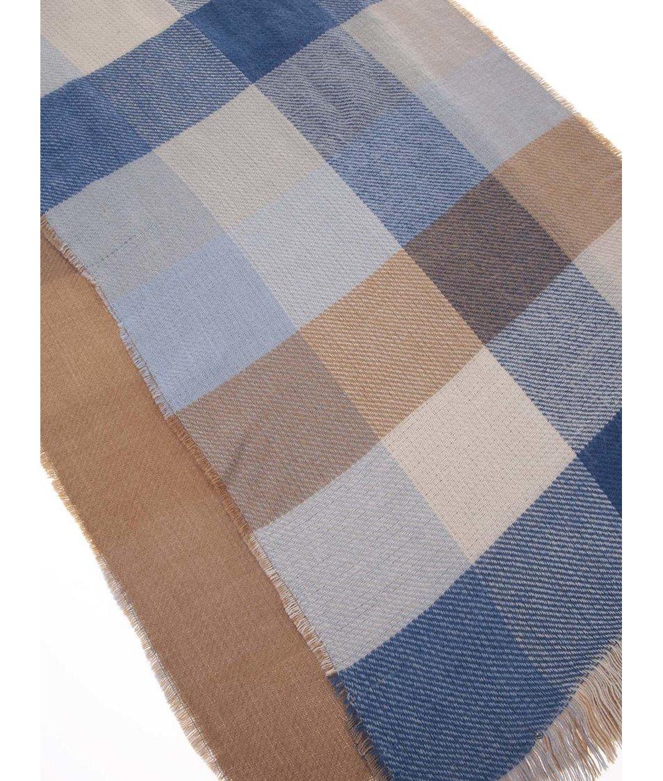 Hnědo-modrá kostkovaná šála Dorothy Perkins