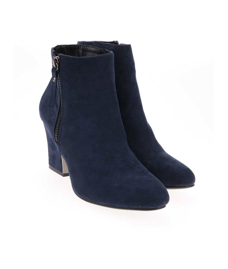 Tmavě modré kotníkové boty na podpatku Dorothy Perkins