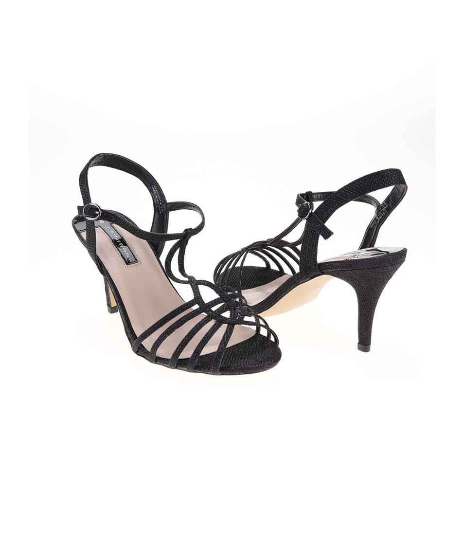 Černé třpytivé sandálky na podpatku Dorothy Perkins