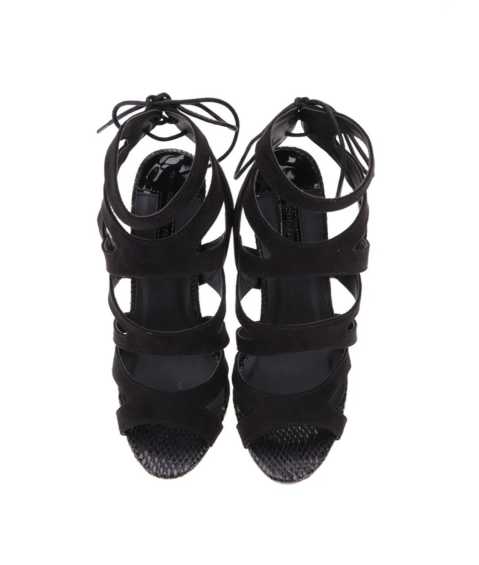 Černé semišové sandálky na podpatku Dorothy Perkins
