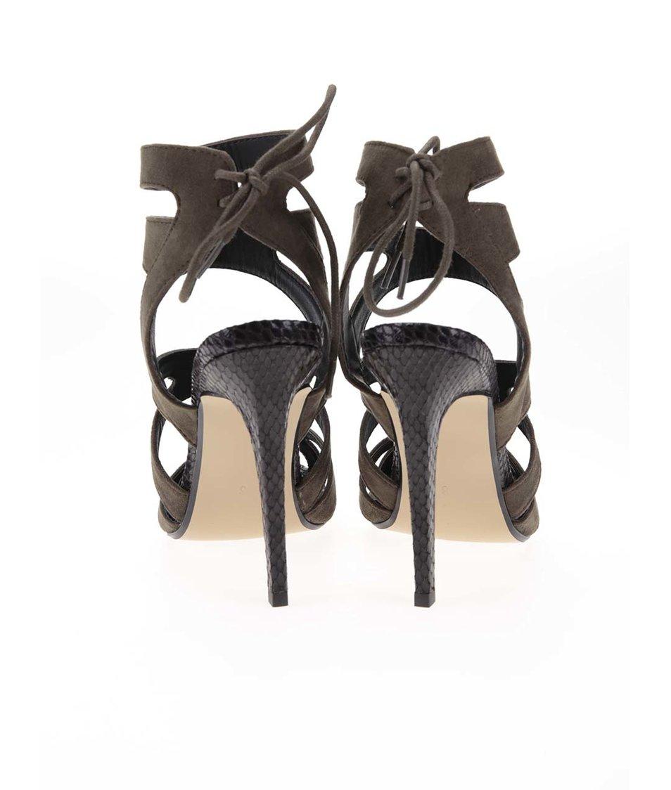 Khaki semišové sandálky na podpatku Dorothy Perkins
