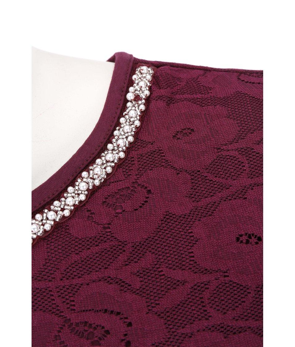 Vínové šaty zdobené krajkou Dorothy Perkins Curve