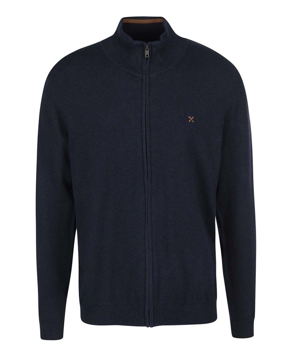 Tmavě modrý svetr na zip Selected Seb