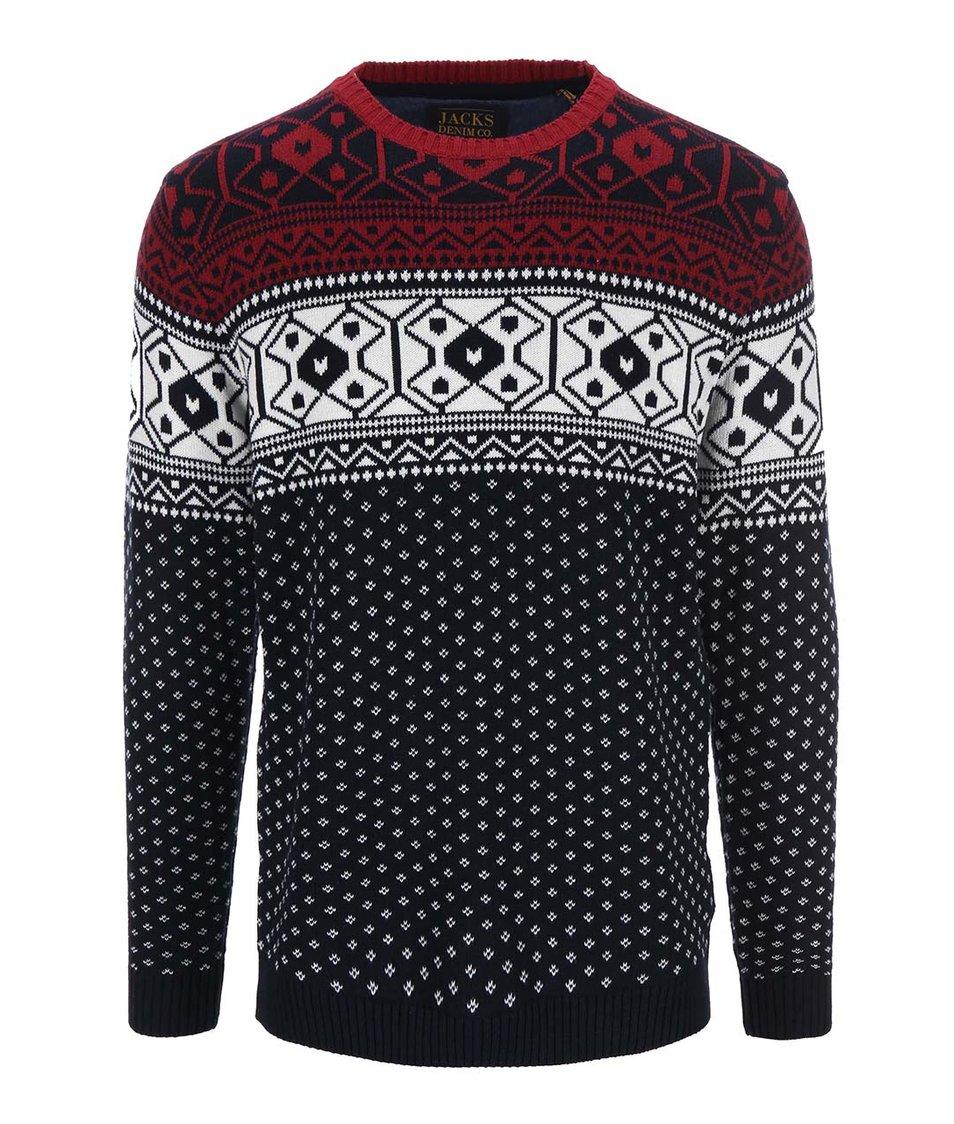 Bílo-červeno-modrý svetr s norským vzorem Jacks