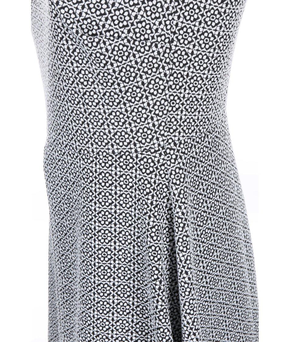 Bílo-černé vzorované šaty s límečkem Dorothy Perkins Curve