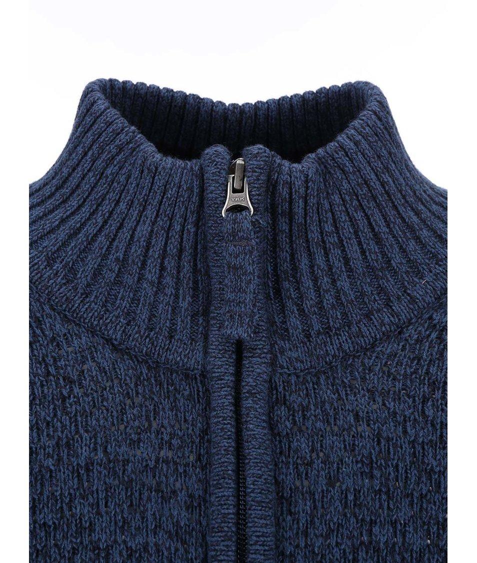 Tmavě modrý žíhaný svetr se zipem Jacks