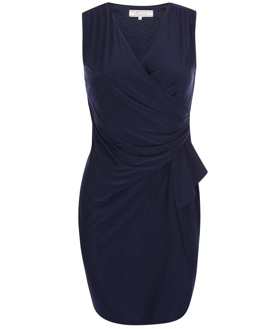 Tmavě modré nařasené šaty Dorothy Perkins Curve
