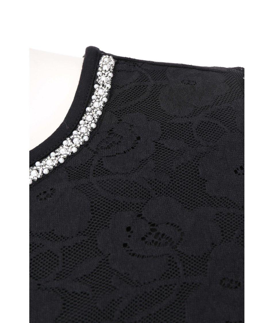 Černé šaty zdobené krajkou Dorothy Perkins Curve
