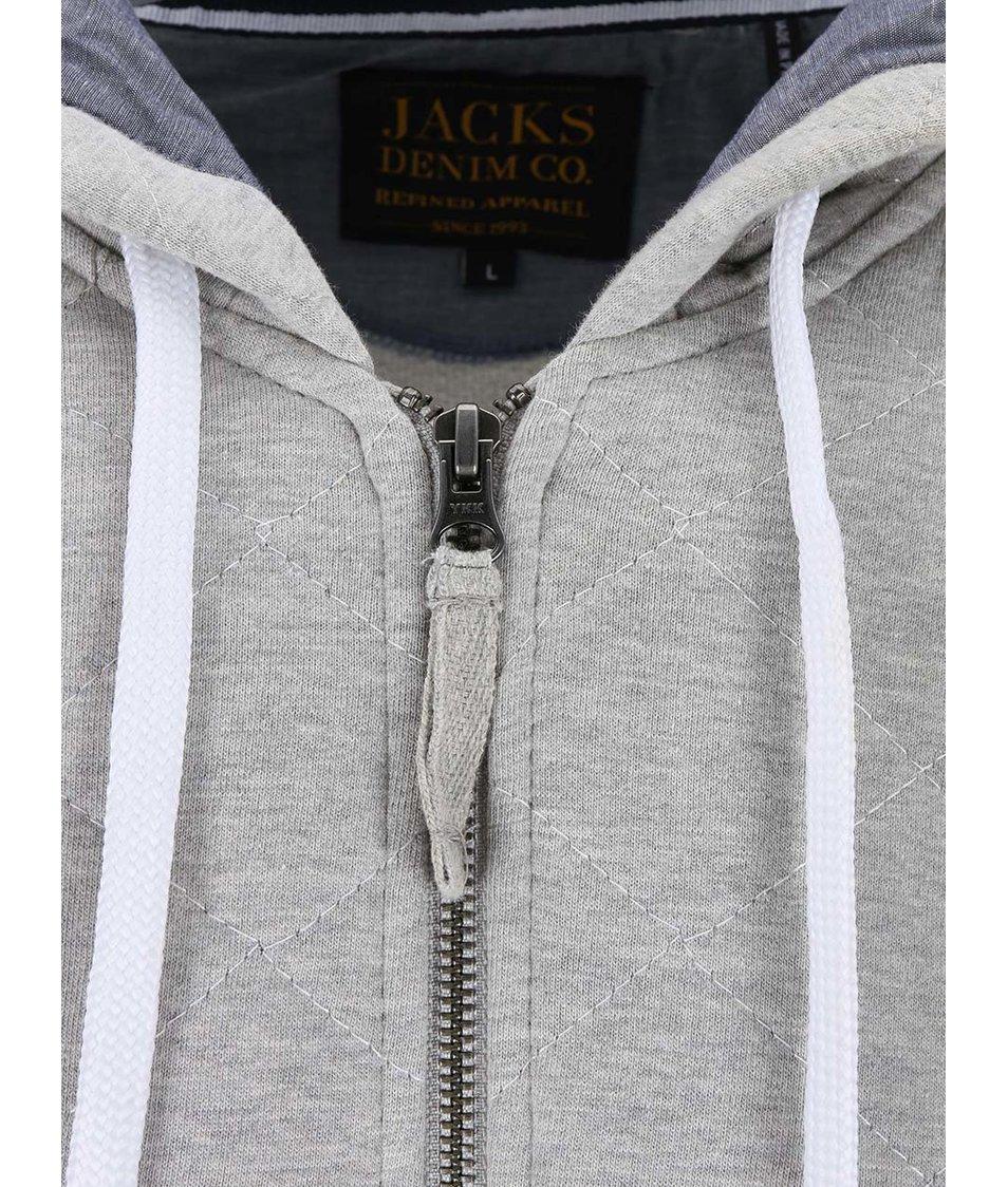 Světle šedá mikina na zip Jacks