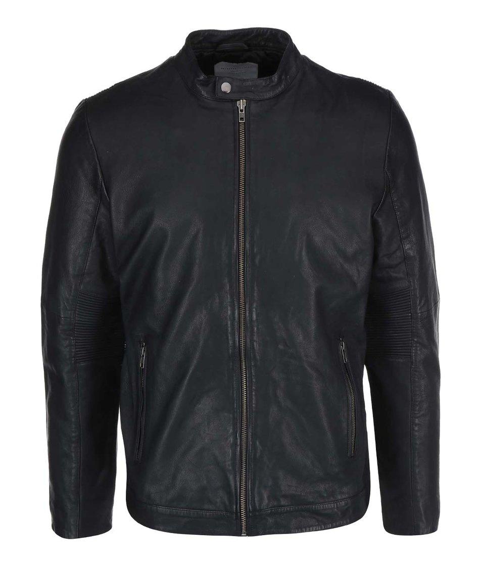 Černá kožená bunda Selected Miles