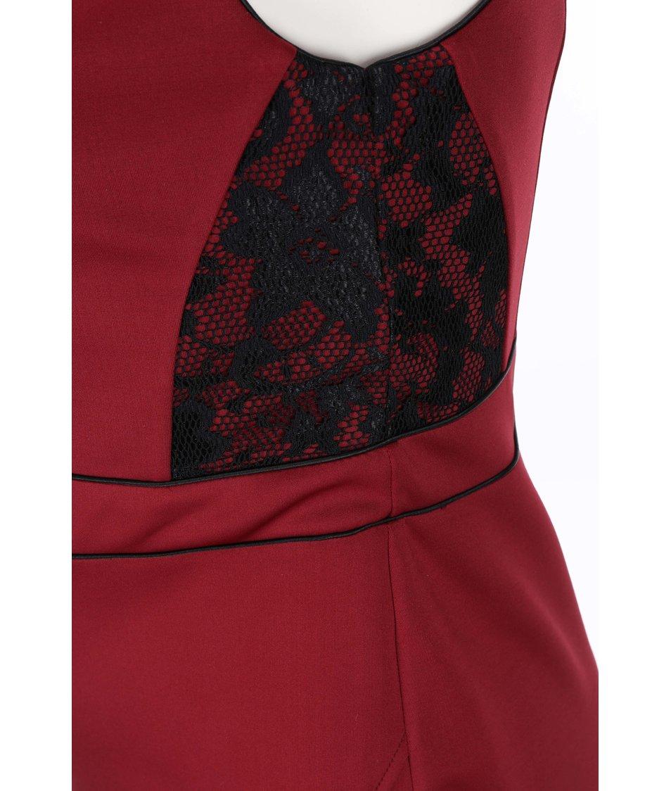 Černo-vínové šaty s krajkou Dorothy Perkins Curve