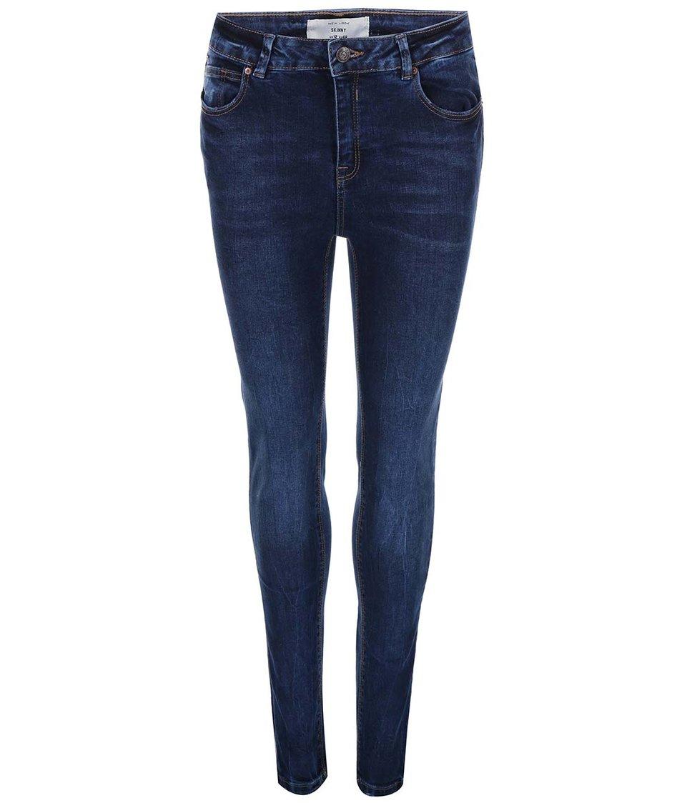 Modré vyšisované skinny džíny New Look