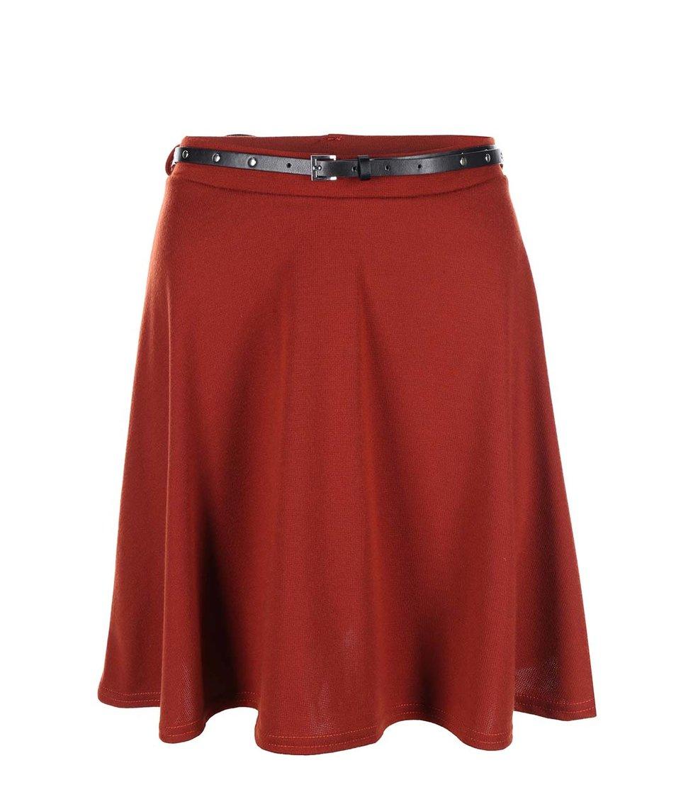 Cihlová sukně s páskem New Look
