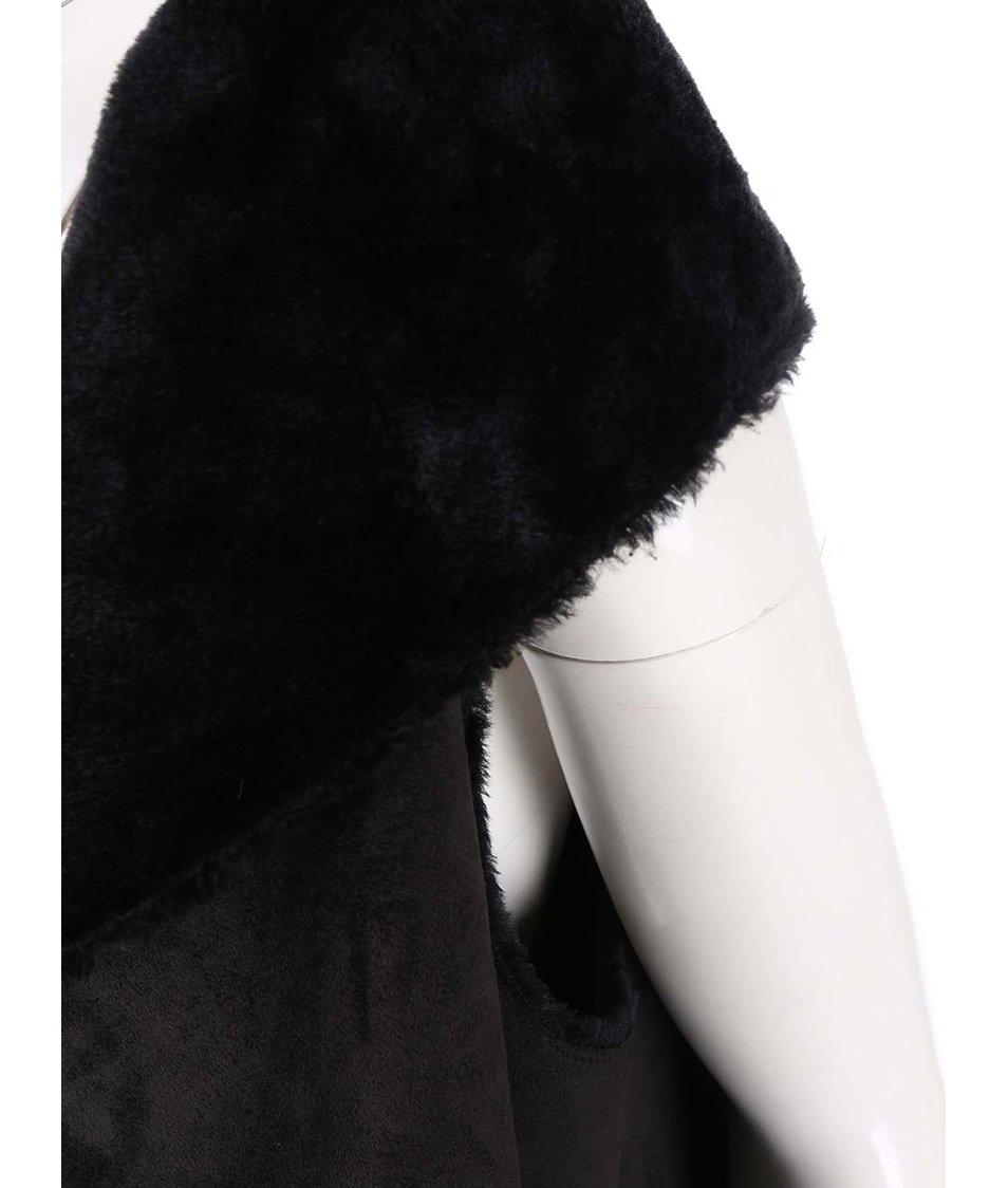 Černá vesta s umělou kožešinou New Look