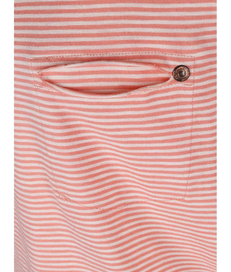Korálové pruhované tričko ONLY Ally