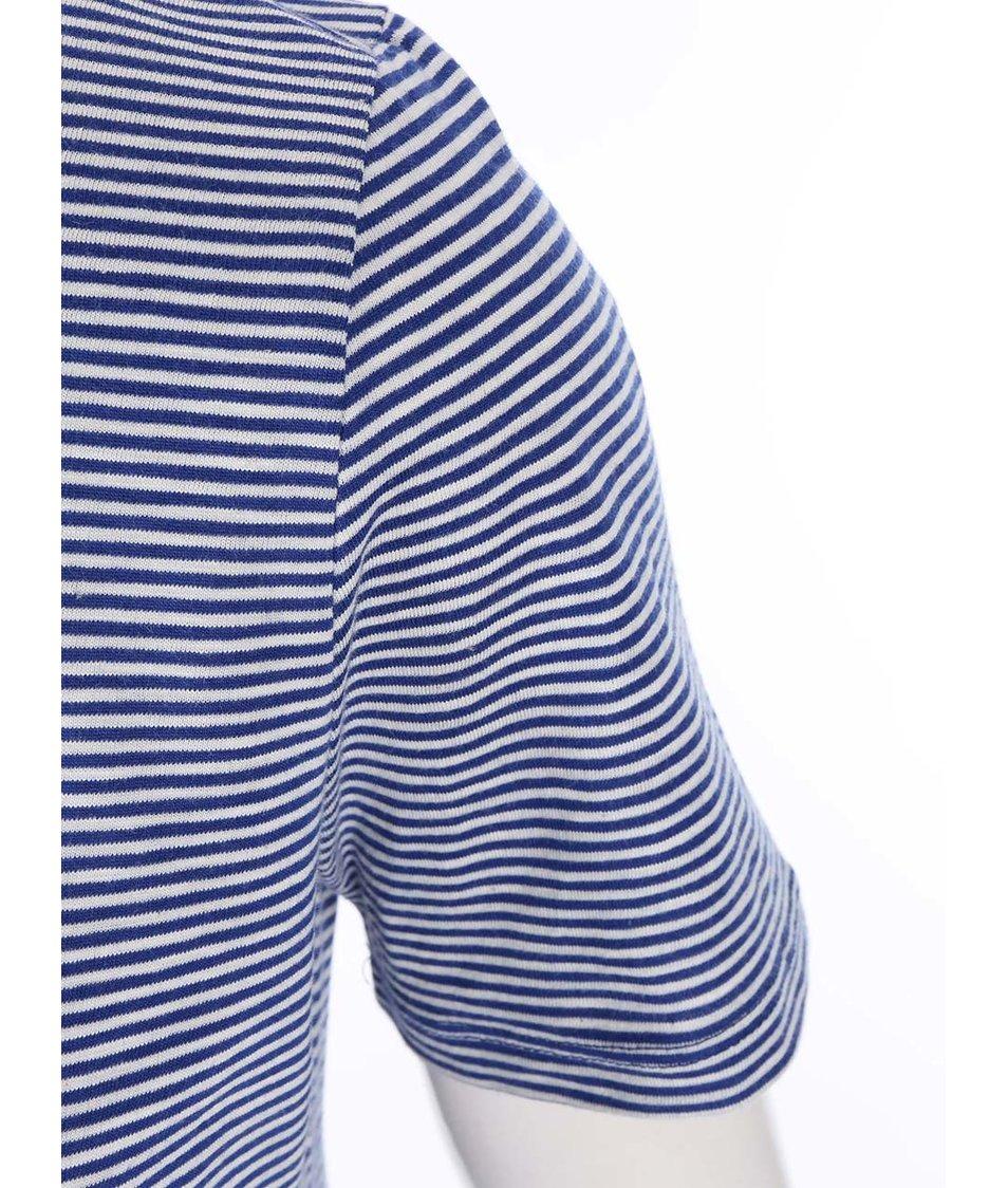 Modré pruhované tričko se stojáčkem ONLY Ally