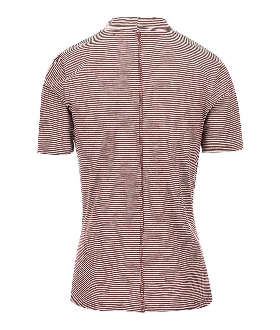 Vínové pruhované tričko se stojáčkem ONLY Ally