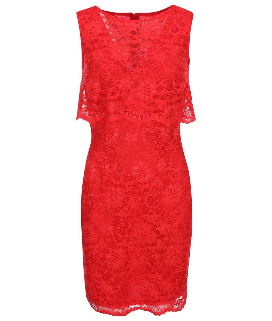 Červené krajkované šaty bez rukávů Lipstick boutique Lucia