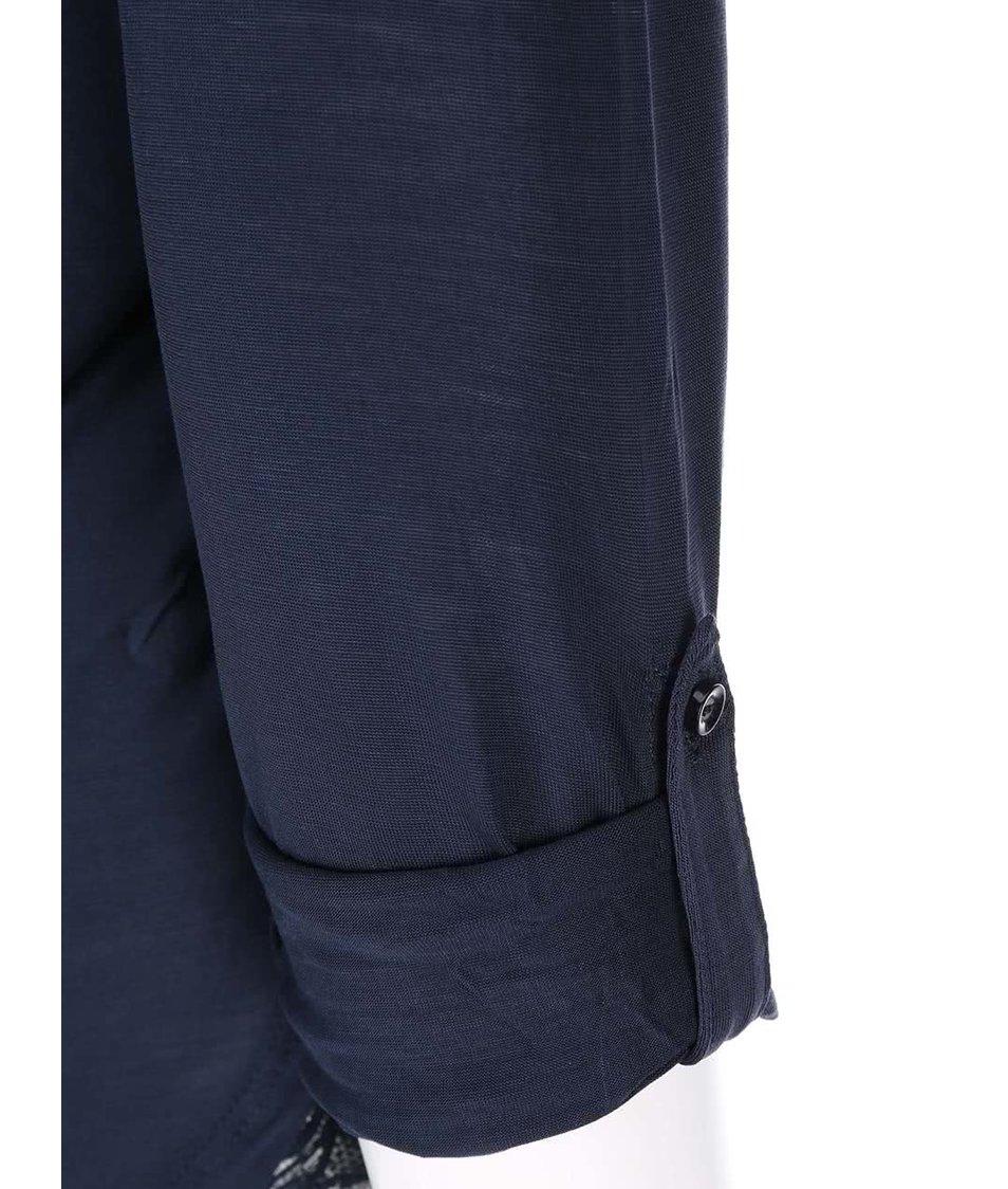 Tmavě modré tričko s 3/4 rukávy a knoflíčky Vero Moda Hope