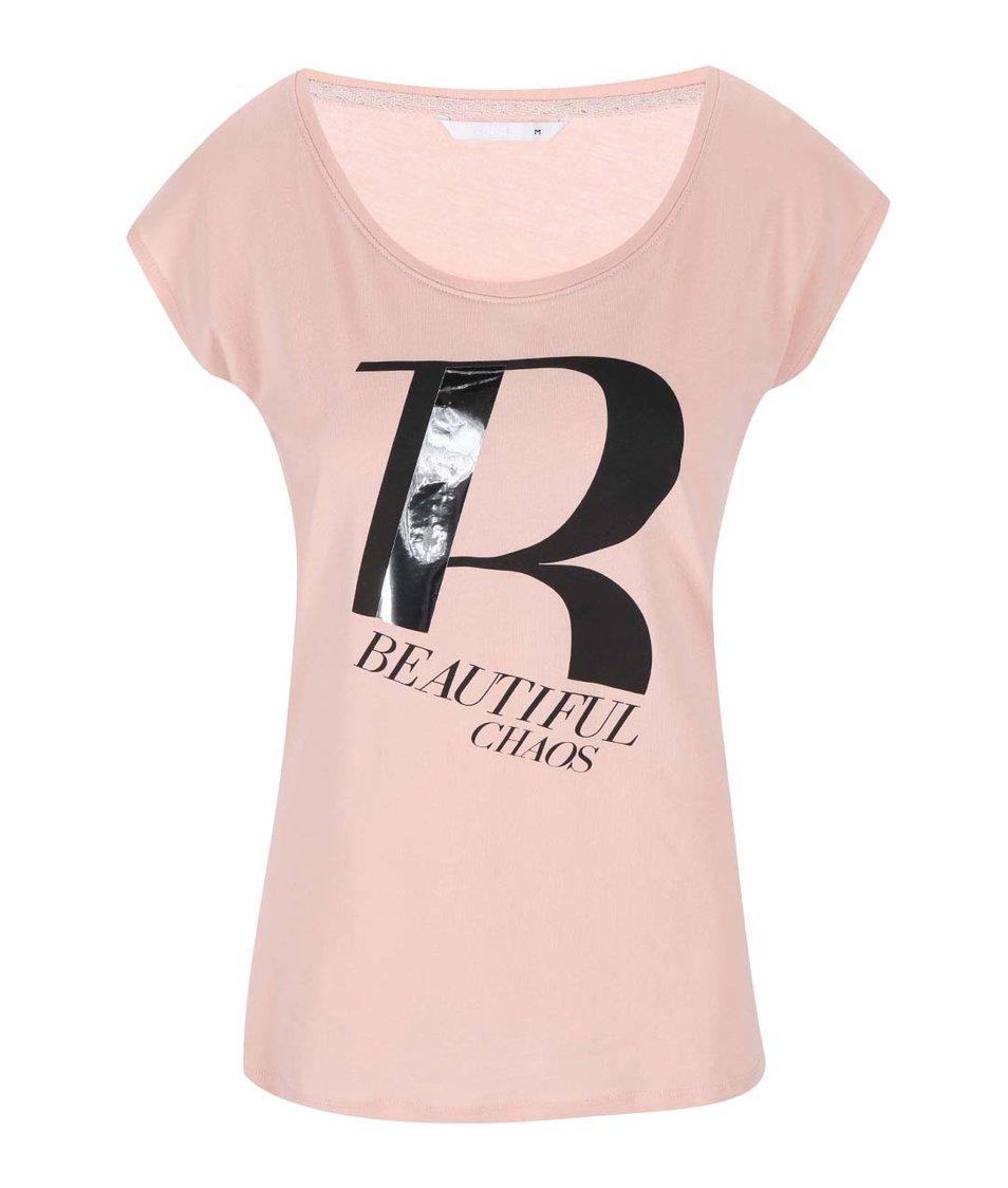 Růžové tričko s potiskem ONLY Joli