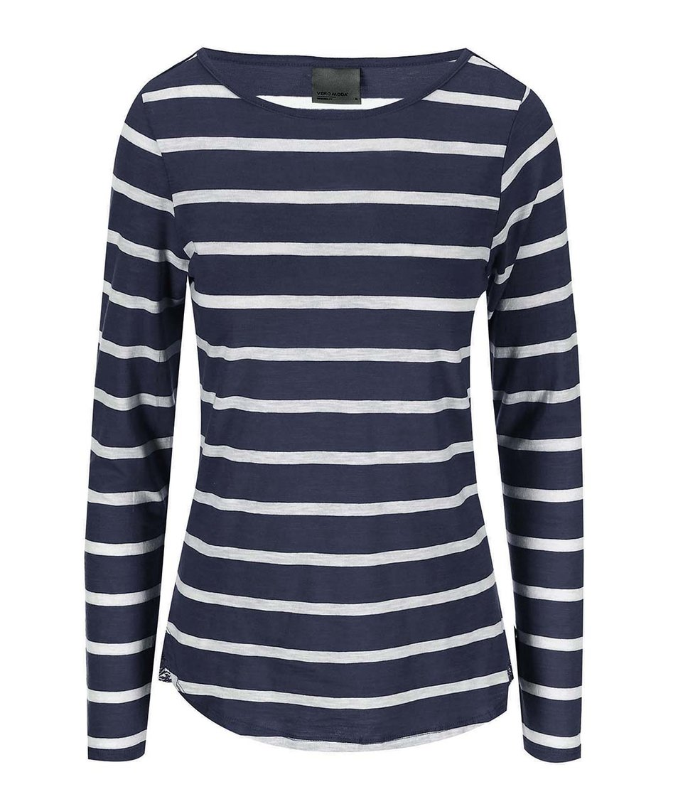 Bílo-modré pruhované tričko s dlouhým rukávem Vero Moda Hope