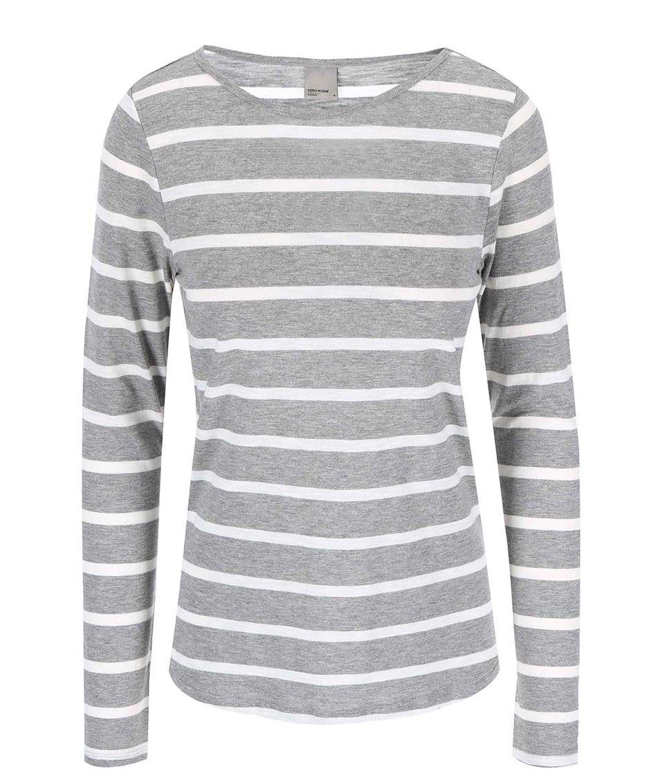 Bílo-šedé pruhované tričko s dlouhým rukávem Vero Moda Hope
