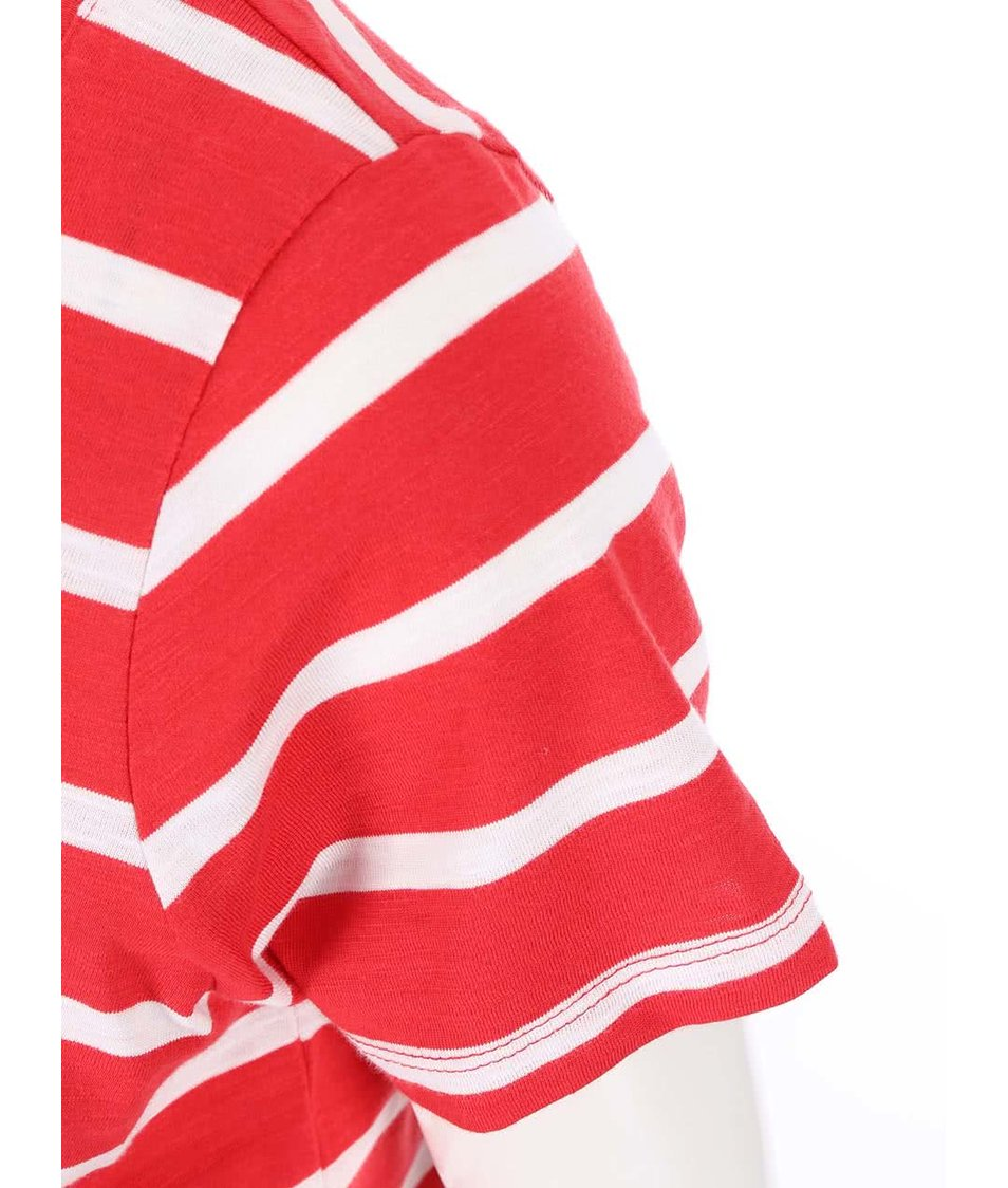 Bílo-červené pruhované tričko s krajkovaným lemem Vero Moda Hope