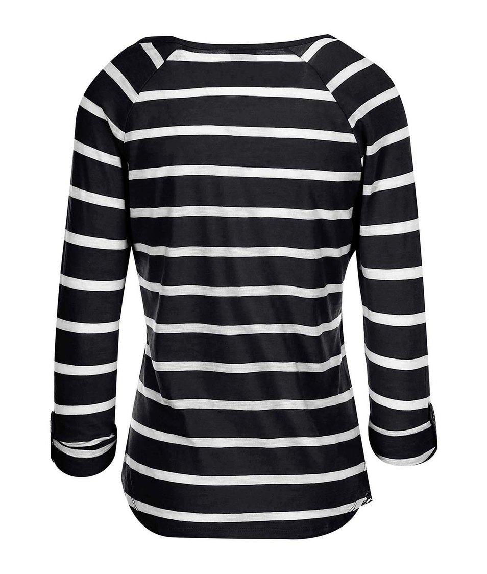 Bílo-černé pruhované tričko s 3/4 rukávy Vero Moda Hope