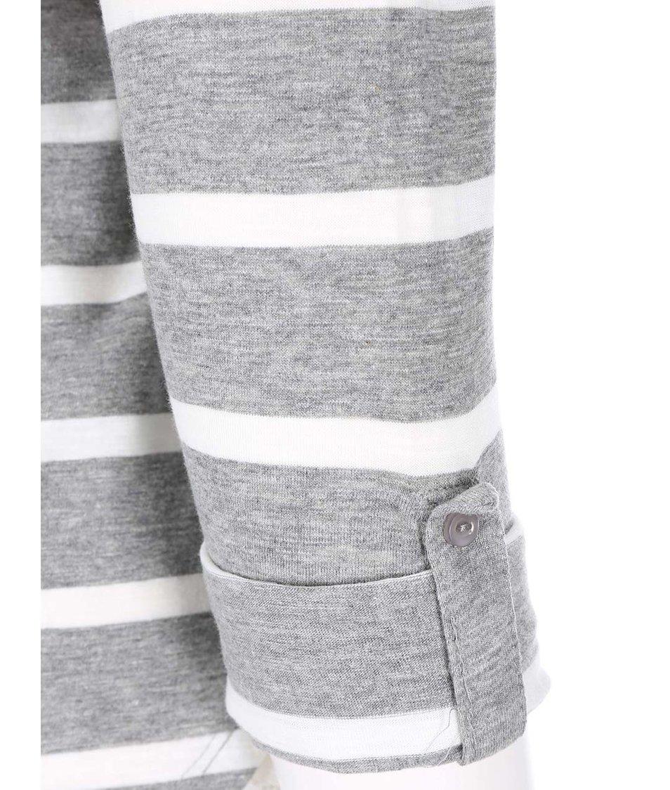 Bílo-šedé pruhované tričko s 3/4 rukávy Vero Moda Hope