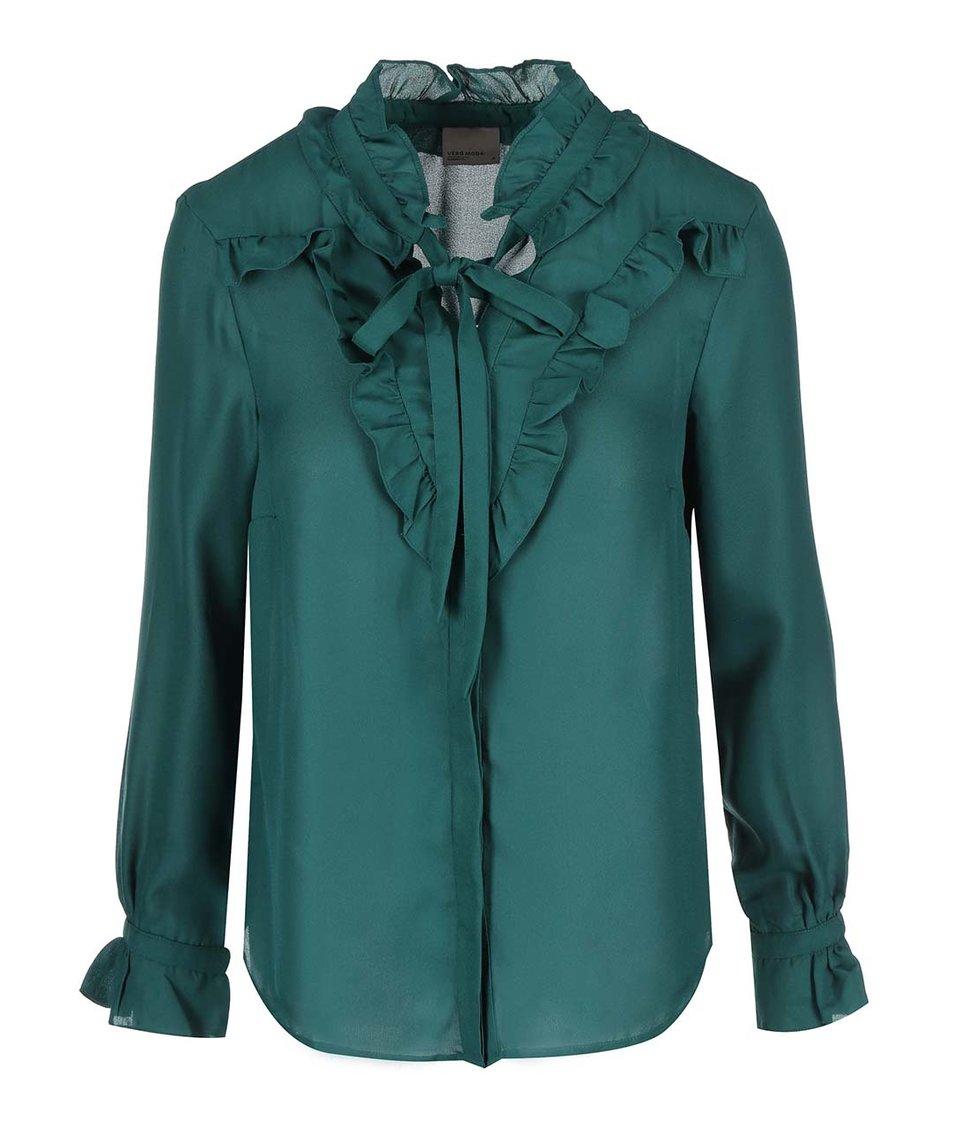 Zelená halenka se zavazováním Vero Moda Click