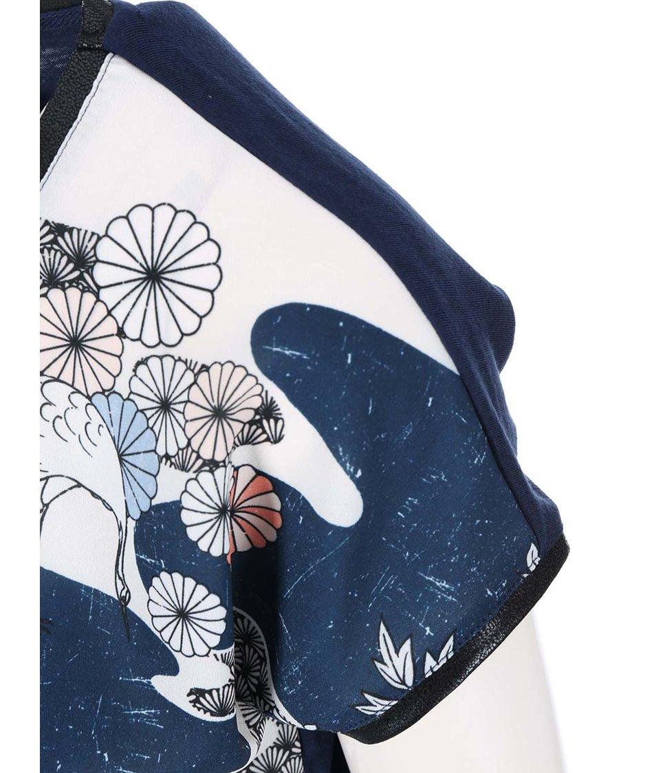 Tmavě modrý květovaný top Vero Moda Marie