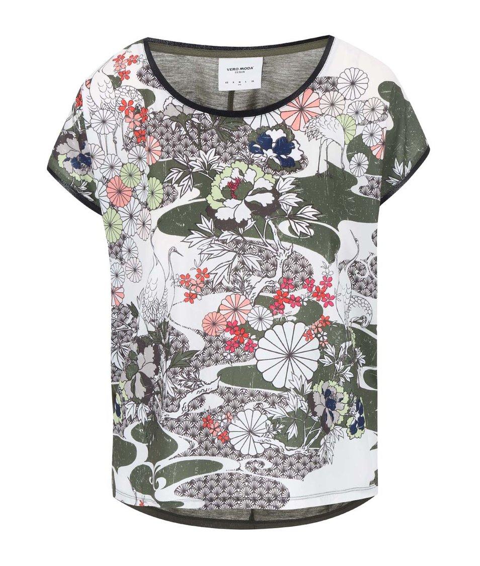 Khaki květovaný top Vero Moda Marie