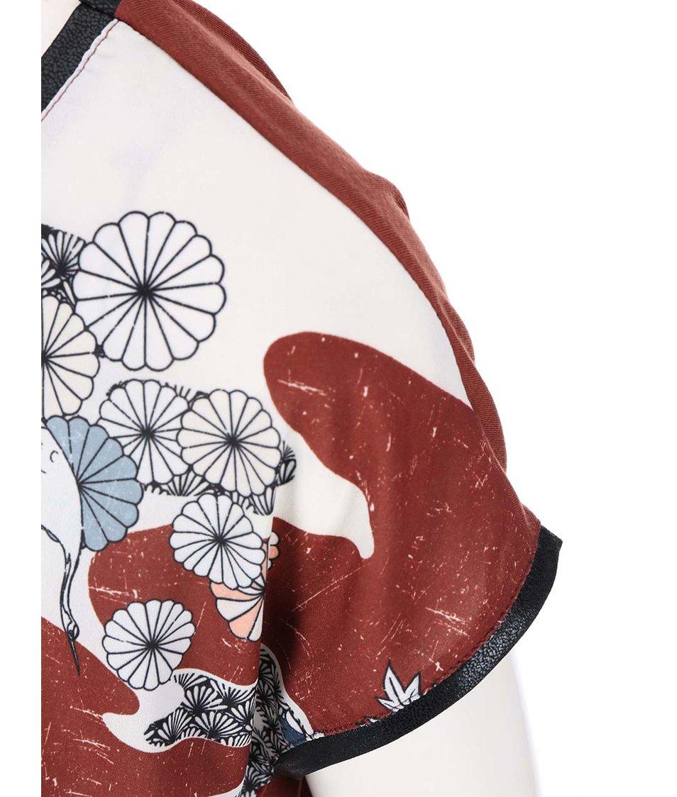 Hnědý květovaný top Vero Moda Marie