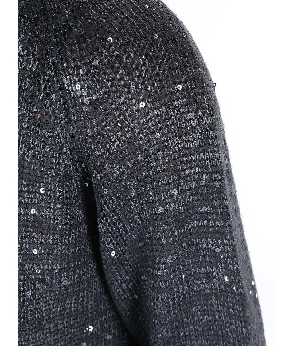 Šedý volnější svetr s flitry ONLY Adelyn
