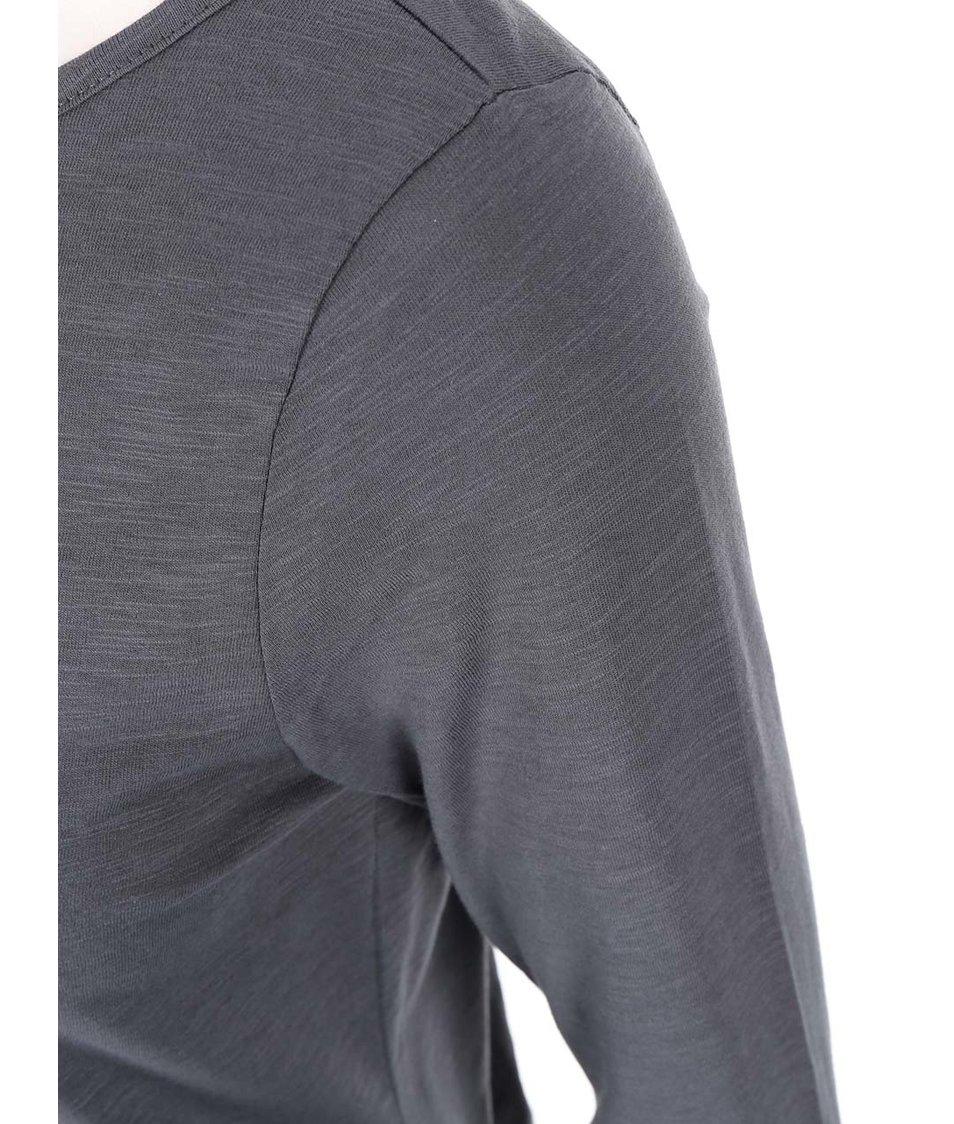 Antracitové tričko s dlouhým rukávem Vero Moda Hope