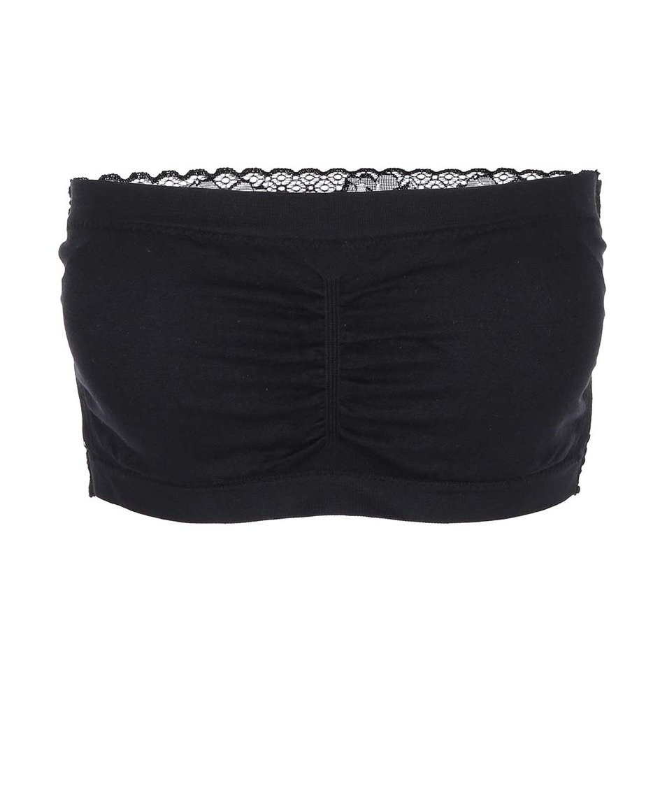 Černá bandeau podprsenka s krajkovými zády Haily´s Bandeau