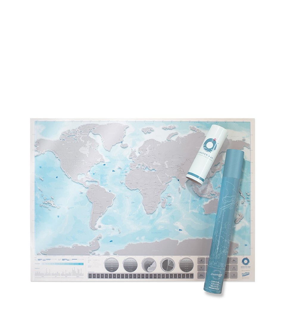 Nástěnná stírací mapa světa Luckies Oceans