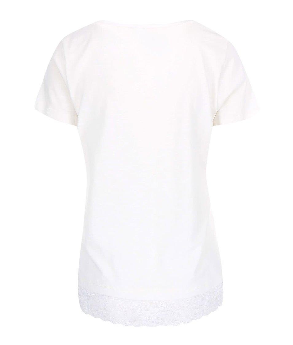 Bílé tričko s krátkým rukávem a krajkou Vero Moda Hope