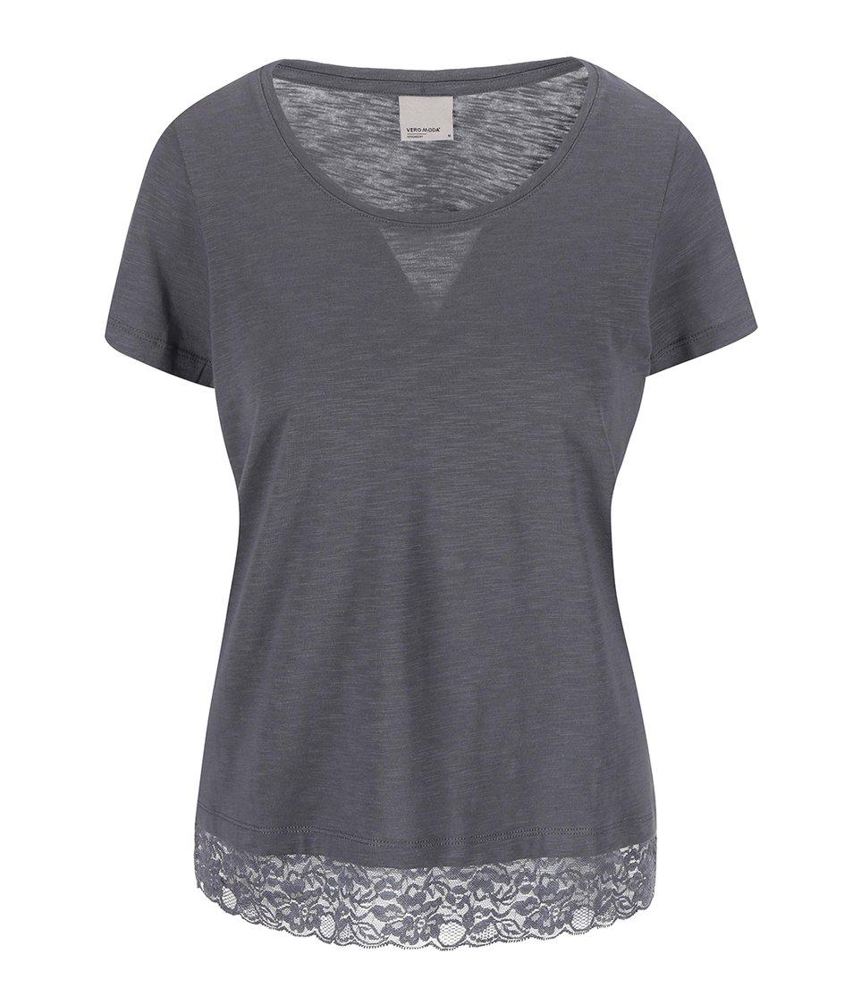 Antracitové tričko s krátkým rukávem a krajkou Vero Moda Hope