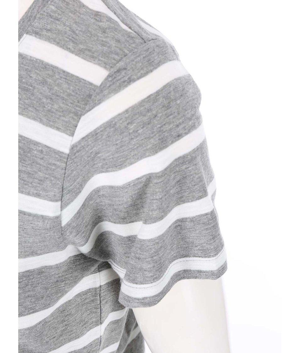 Bílo-šedé pruhované tričko s krajkovým lemem Vero Moda Hope