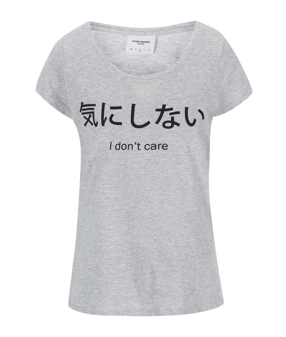 Šedé tričko s potiskem Vero Moda Julie