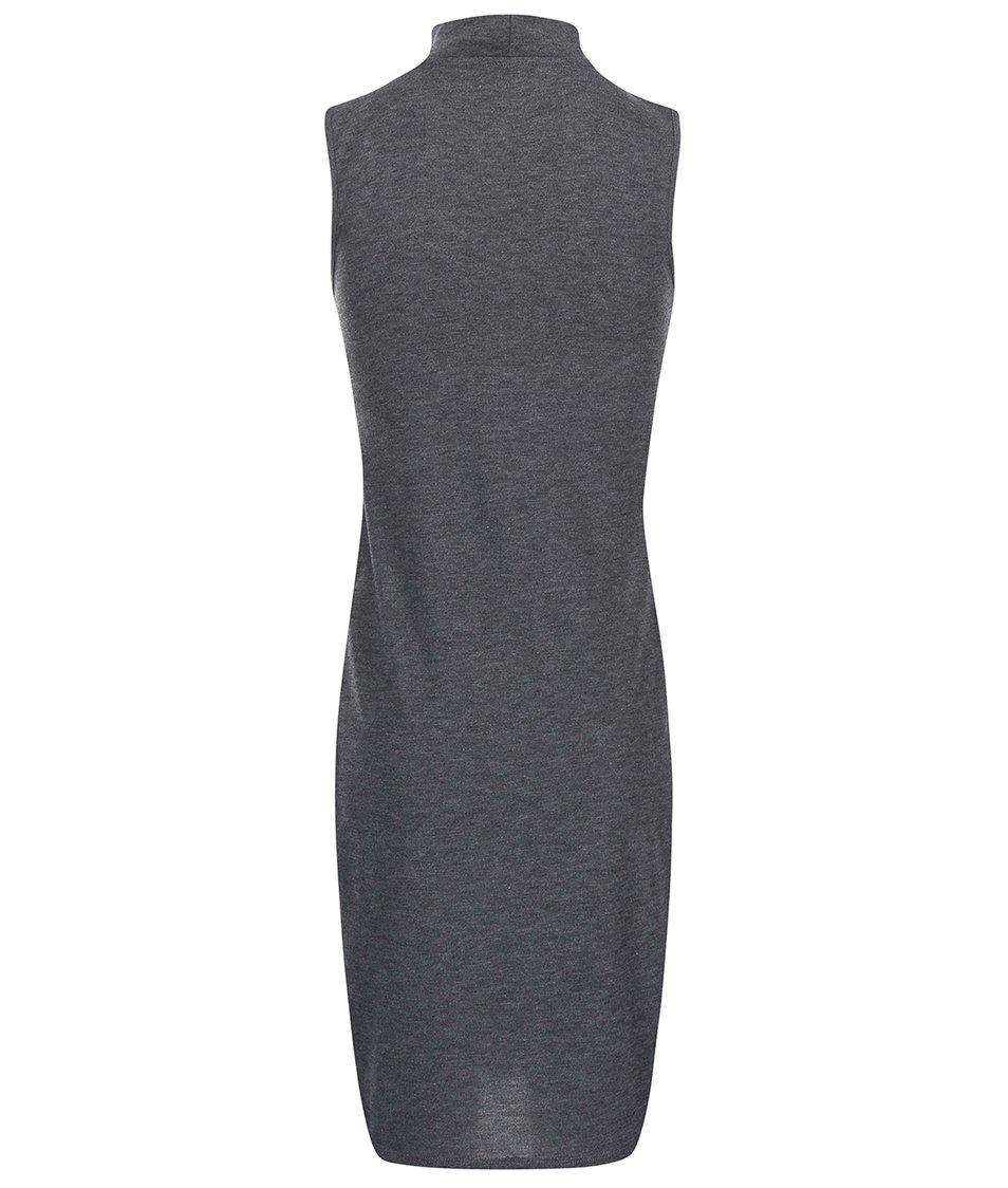 Šedé dlouhé šaty s vysokým rozparkem Vero Moda Nadra